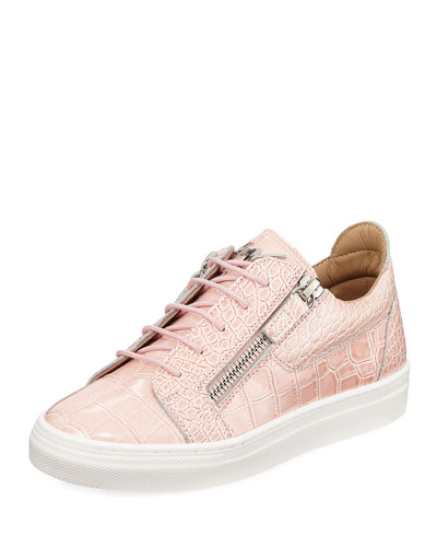 Selma Snake-Embossed Leather Low-Top Sneaker, Toddler