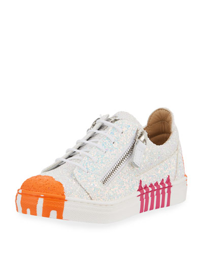 Paint Splashed Glitter Low-Top Sneaker, Toddler/Kids