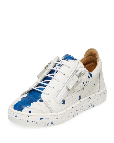 Snake-Embossed Leather Paint Splatter Low-Top Sneakers, Toddler/Kids