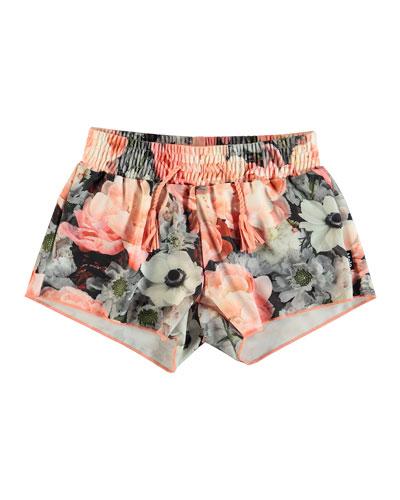 Nicci Floral-Print Swim Shorts, Size 3T-12