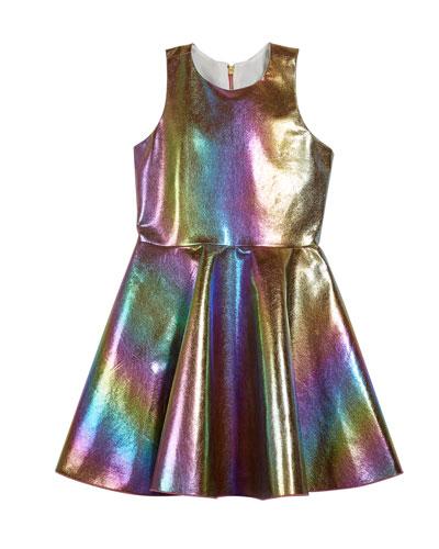 Josie Iridescent Rainbow Foil Dress, Size 4-6X