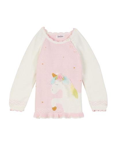 Two-Tone Unicorn Intarsia Sweater, Size 2T-10
