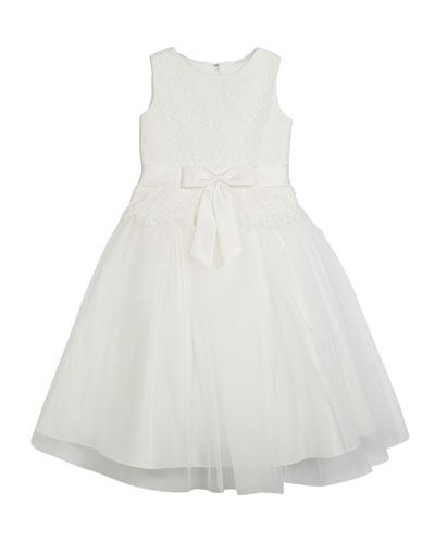 Lace Bodice & Tulle Skirt Tea-Length Dress, Size 2-14
