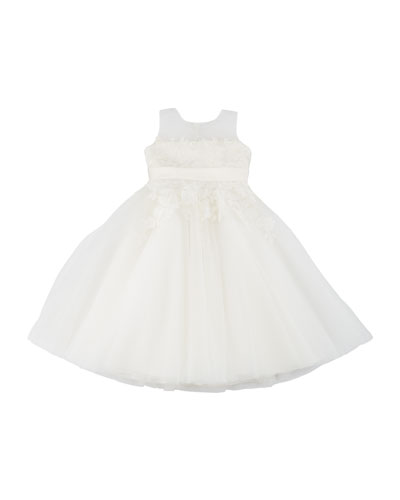 Floral Lace & Tulle Sleeveless Dress, Size 4-14