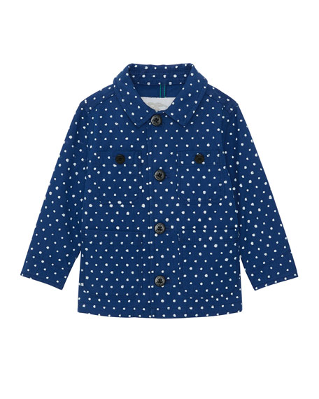 Burberry Mateo Spotted-Print Long-Sleeve Shirt, Size 18M-2