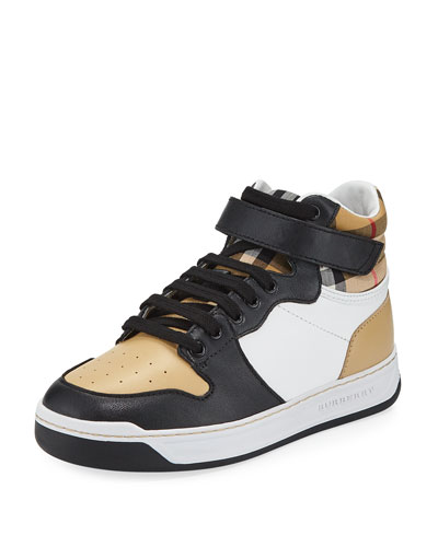 Duke Leather Colorblock & Check High-Top Sneaker, Toddler/Kids