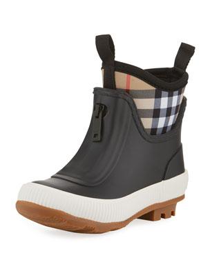29ac6771ab97 Burberry Flinton Short Rubber Rain Boots w  Check Detail, Toddler