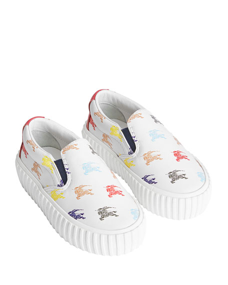Burberry ERWIN LEATHER KNIGHT-PRINT SNEAKERS, TODDLER