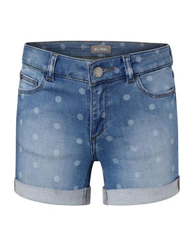 Piper G Polka Dot Cuffed Denim Shorts, Size 7-16