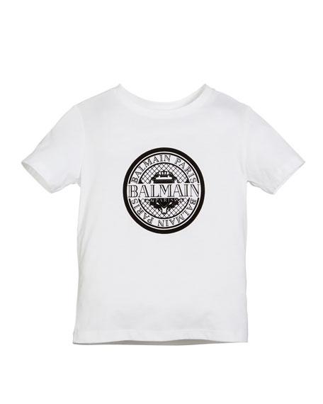 Balmain Short-Sleeve Coin Logo Tee, Size 12-16