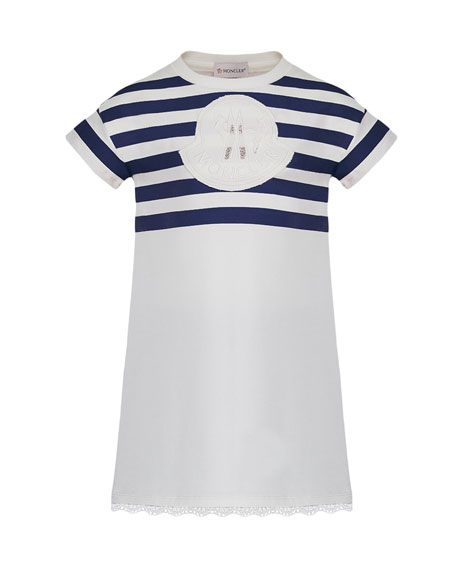 Moncler Short-Sleeve Striped Upper Dress, Size 8-14