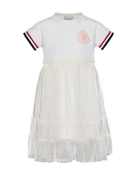 Moncler Short-Sleeve Tulle Overlay Dress, Size 8-14