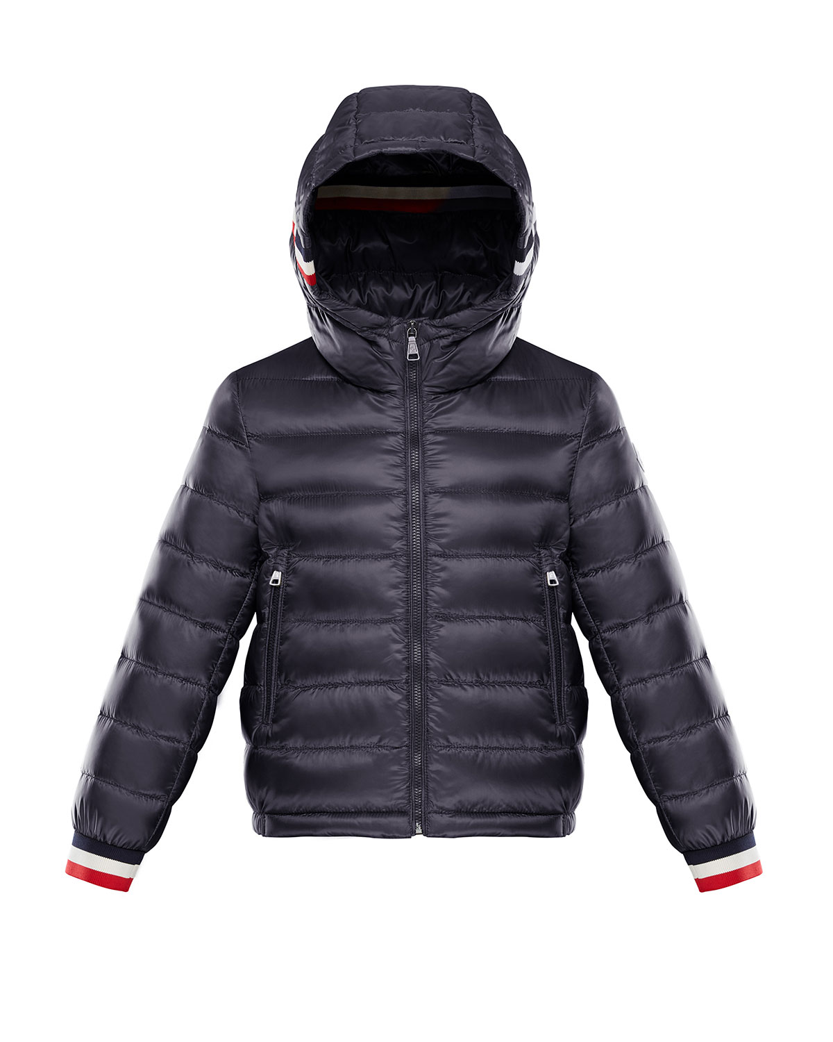 d5096b9902e0 Moncler Quilted Hooded Jacket w  Striped Trim