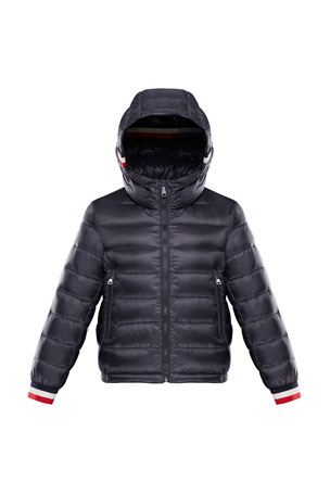 Moncler Giroux Quilted Hooded Jacket w/ Striped Trim, Size 8-14