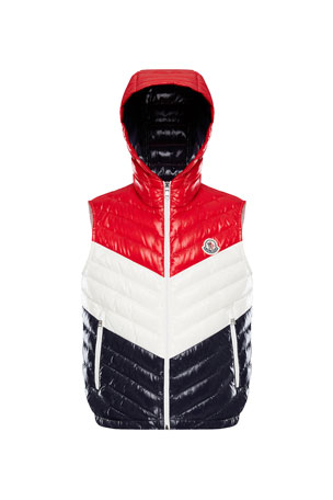 Moncler Tricolor Chevron Quilted Hooded Vest, Size 8-14
