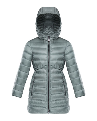 Quilted Ruffle-Trim Hooded Jacket, Size 4-6