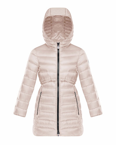 Quilted Ruffle-Trim Hooded Jacket, Size 8-14