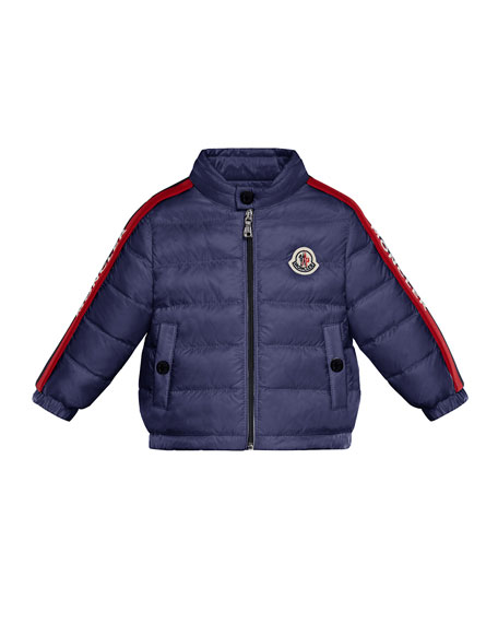 Moncler Logo-Trim Quilted Stand-Collar Coat, Size 12M-3