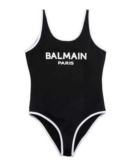 Balmain Two-Tone Logo One-Piece Swimsuit, Size 4-10