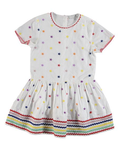 Stella McCartney Kids Short-Sleeve Embroidered Star Dress, Size