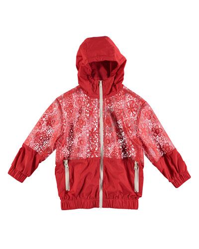 Coated Lace Hooded Rain Jacket  Size 4-14