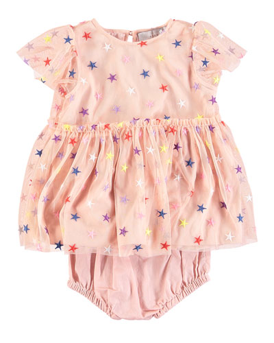Multicolored Embroidered Star Tulle Dress w/ Bloomers  Size 6-36 Months