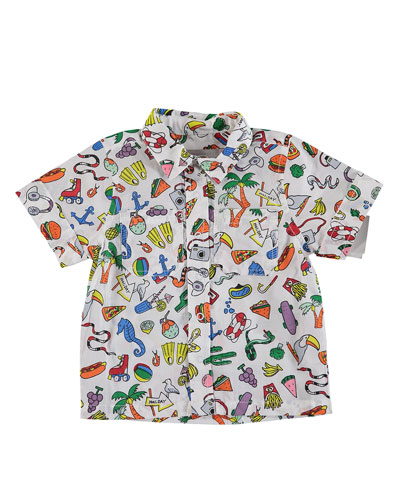Toys & Food Print Snap-Front Collared Shirt  Size 12-36 Months