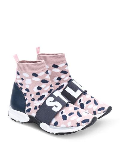 Camo Knit Logo-Strap Sock Sneakers  Kids