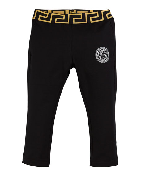 Versace Medusa Logo Greek Key Leggings, Size 12-36