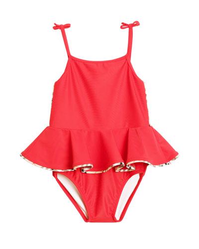 Ludine Check-Trim One-Piece Swimsuit w/ Skirt, Size 6M-2