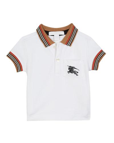 Noel Striped-Trim Logo Pocket Polo  Size 6M-2