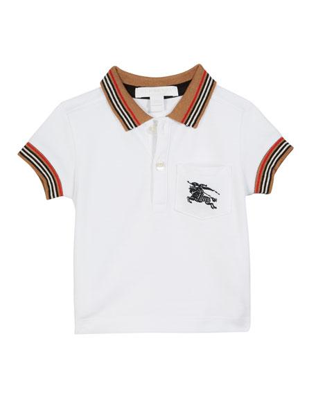 Burberry Noel Striped-Trim Logo Pocket Polo, Size 6M-2