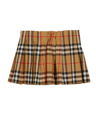 Pearl Check Pleated Skirt, Size 6M-2