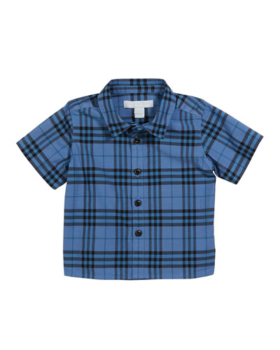 Sammi Dyed Check Short-Sleeve Collared Shirt, Size 6M-2