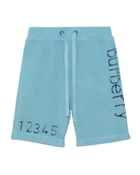 Burberry Damien Logo & Numbers Knit Drawstring Shorts,