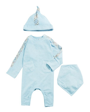 cdde03ac81b Burberry Colby Check-Trim 3-Piece Layette Set
