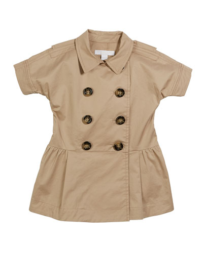 Cynthie Short-Sleeve Double-Breasted Button Dress, Size 12M-2