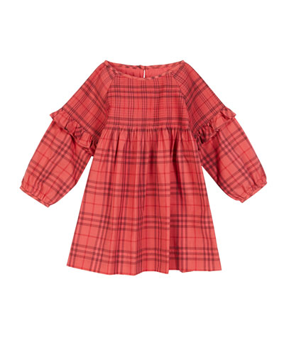 Loralie Long-Sleeve Dyed Check Dress  Size 6M-2