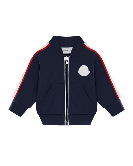 Moncler Stripe-Trim Baseball-Collar Cardigan, Size 12M-3