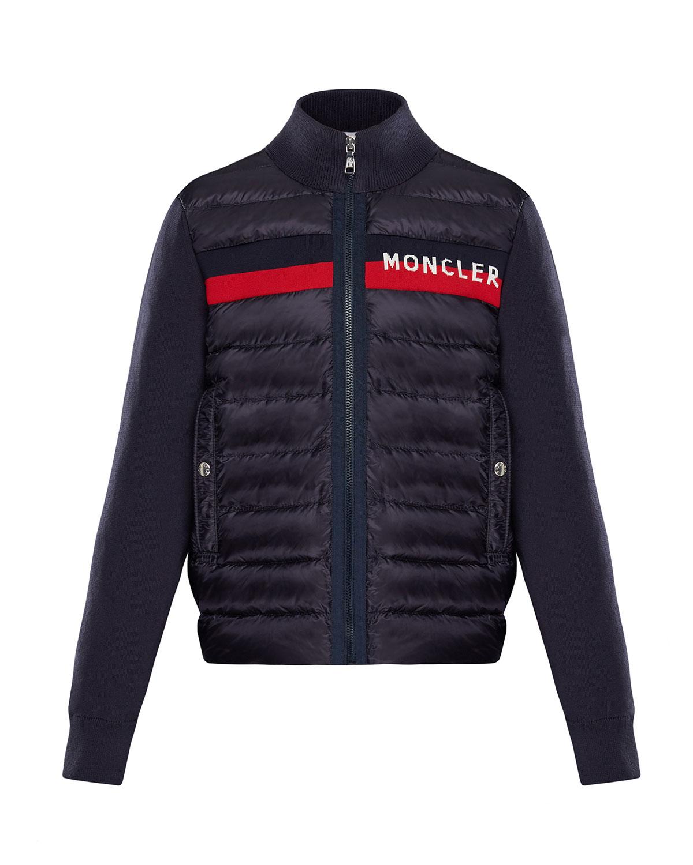 4b4de375c6e0 Moncler Quilted Zip-Front Jacket w  Knit Trim