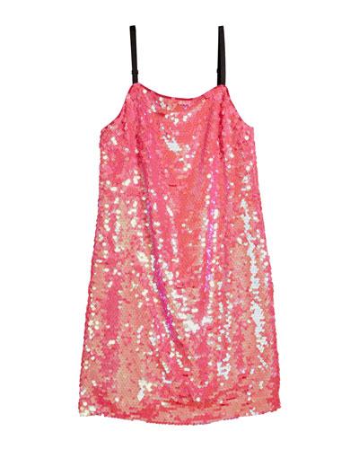Chelsea Paillettes Spaghetti-Strap Dress  Size 7-16