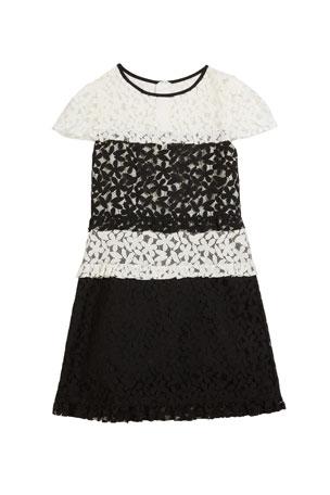 Milly Minis Gabbriella Two-Tone Floral Lace Dress, Size 7-16