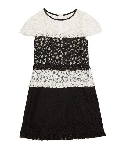 Gabbriella Two-Tone Floral Lace Dress  Size 7-16