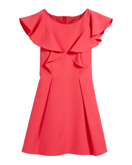 Italian Cady Ruffle Dress, Size 7-16