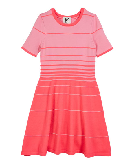 Degrade Stripe Short-Sleeve Flare Dress, Size 4-6