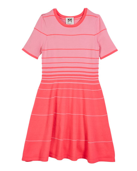 Degrade Stripe Short-Sleeve Flare Dress, Size 7-16