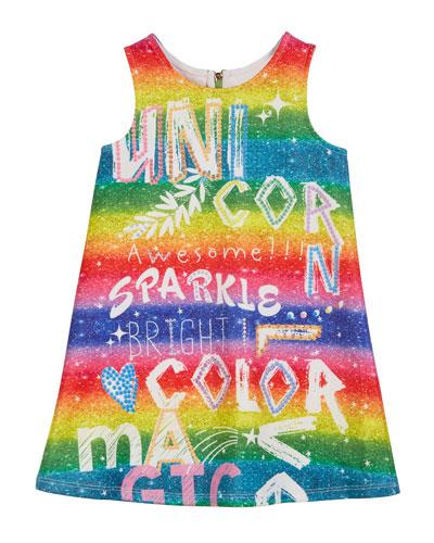 Rainbow Scuba Sleeveless Dress  Size 4-6