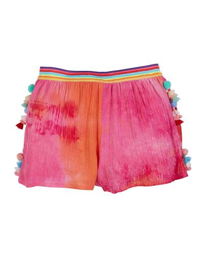 Woven Tie Dye Shorts w/ Tassel Trim, Size 4-6