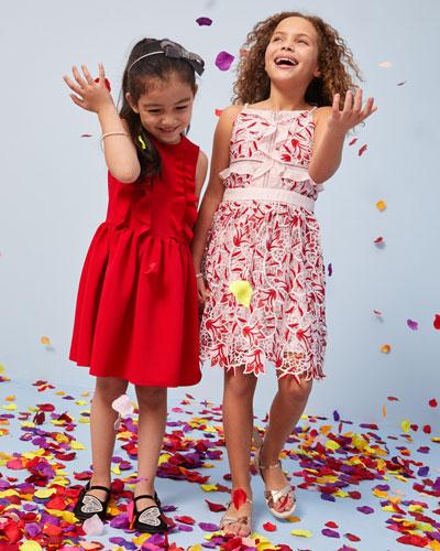 Rib Knit Ruffle-Trim Sleeveless Dress, Size 4-8