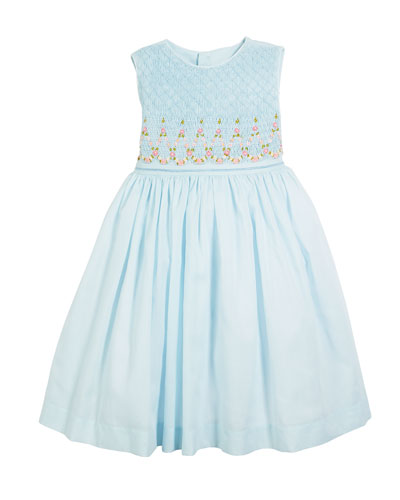 Smocked Sleeveless Bow-Back Dress, Size 4-6X